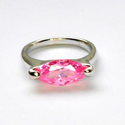 Fingerring mit Zirkonia, light rose, 3 Größen