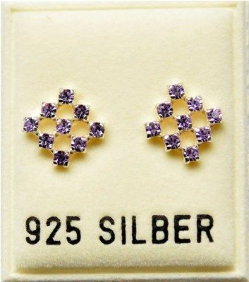 Ohrstecker mit Swarovski-Elements, violett, ca. 8 x 8mm