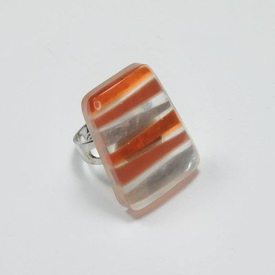 Fingerringe mit verstellbarer Ringschiene, orange/braun/silber