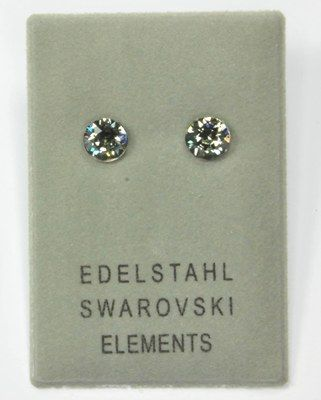 Edelstahlohrstecker mit Swarovski Elements, Chaton, black diamond